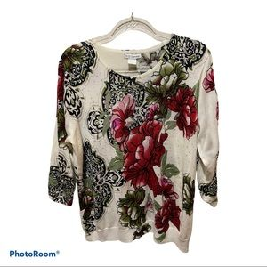 C.D. Daniels Abstract Floral Sweater